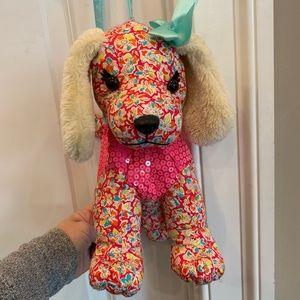 Poochie & Co girls purse pink floral w sequins EUC